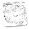 Glass Lamp Bead 18x20mm Square Silver